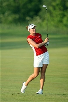 HAVRE DE GRACE, MD - JUNE 07:  Brittany Lang of the USA hits her second shot at the 18th hole during the third round of the 2008 McDonald's LPGA Championship held at Bulle Rock Golf Course, on June 7, 2008 in Havre de Grace, Maryland.  (Photo by David Cannon/Getty Images)