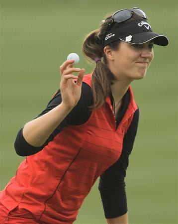 CITY OF INDUSTRY, CA - MARCH 27:  Sandra Gal of Germany celebrates her par-saving putt on the 12th hole during the final round of the Kia Classic on March 27, 2011 at the Industry Hills Golf Club in the City of Industry, California.  (Photo by Scott Halleran/Getty Images)