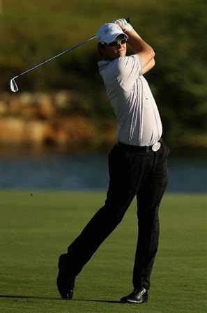 VILAMOURA, PORTUGAL - OCTOBER 14:  Gary Boyd of England plays into the 18th green during the first round of the Portugal Masters at the Oceanico Victoria Golf Course on October 14, 2010 in Vilamoura, Portugal.  (Photo by Richard Heathcote/Getty Images)