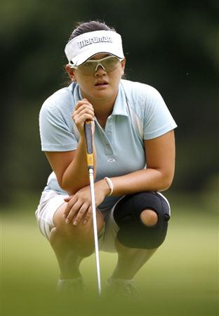 SYLVANIA, OH - JULY 04:  Eunjung Yi of South Korea lines up a putt on the 17th green during the third round of the Jamie Farr Owens Corning Classic at Highland Hills Golf Club on July 4, 2009 in Sylvania, Ohio.  (Photo by Gregory Shamus/Getty Images)