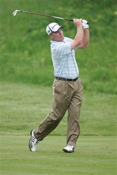 GLENVIEW, IL - MAY 30: Tripp Isenhour follows through on his swing as he tees off on the 11th hole during Round 2 of the Bank of America Open at The Glen Club on May 30, 2008 in Glenview, Illinois. (Photo by Scott Boehm/Getty Images)