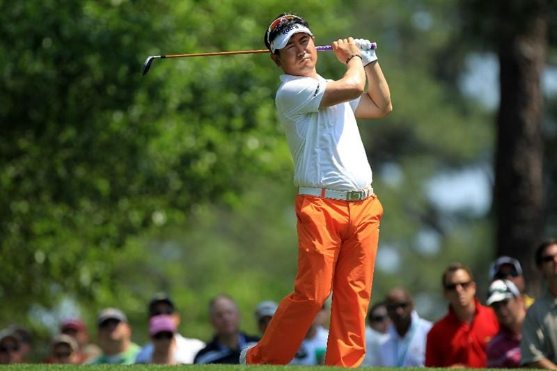 AUGUSTA, GA - APRIL 10:  Y.E. Yang of South Korea  watches his tee shot on the fourth hole during the final round of the 2011 Masters Tournament on April 10, 2011 in Augusta, Georgia.  (Photo by David Cannon/Getty Images)