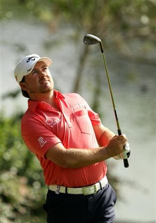 SOTOGRANDE, SPAIN - OCTOBER 30:  Graeme McDowell of Northern Ireland pitches to the 10th green during the third round of the Andalucia Valderrama Masters at Club de Golf Valderrama on October 30, 2010 in Sotogrande, Spain.  (Photo by Richard Heathcote/Getty Images)