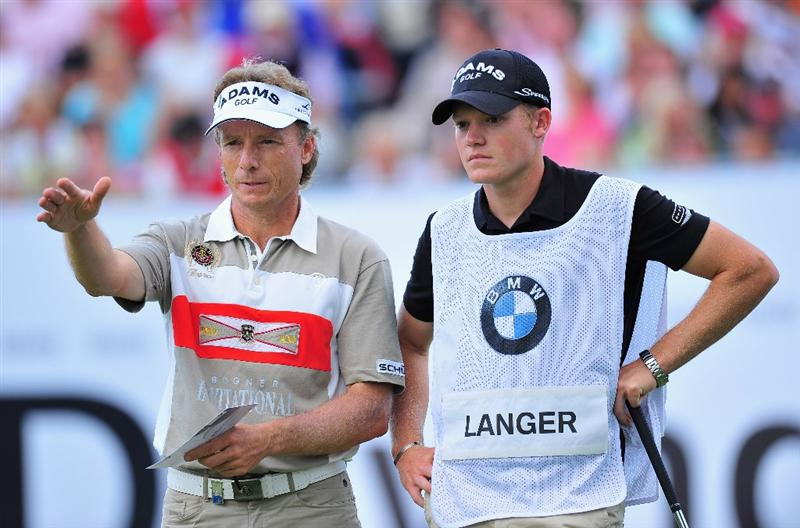 MUNICH, GERMANY - JUNE 27:  Bernhard Langer of Germany and son Stefan Langer on the 18th hole during the third round of The BMW International Open Golf at The Munich North Eichenried Golf Club on June 27, 2009, in Munich, Germany.  (Photo by Stuart Franklin/Getty Images)