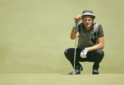Jesper Parnevik during the second round of the US Bank Championship being held at Brown Deer Park in Milwaukee, Wisconsin on July 20, 2007. Photo by Mike Ehrmann/WireImage.com