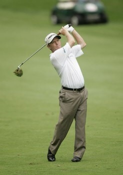 2005 US Bank Championship-Round 3: Jeff Sluman hits his approach on the 12th hole during the 3rd round of the  2005 US Bank Championship at Brown Deer Park in Milwaukee, Wisconsin on July 23, 2005.Photo by Mike Ehrmann/WireImage.com