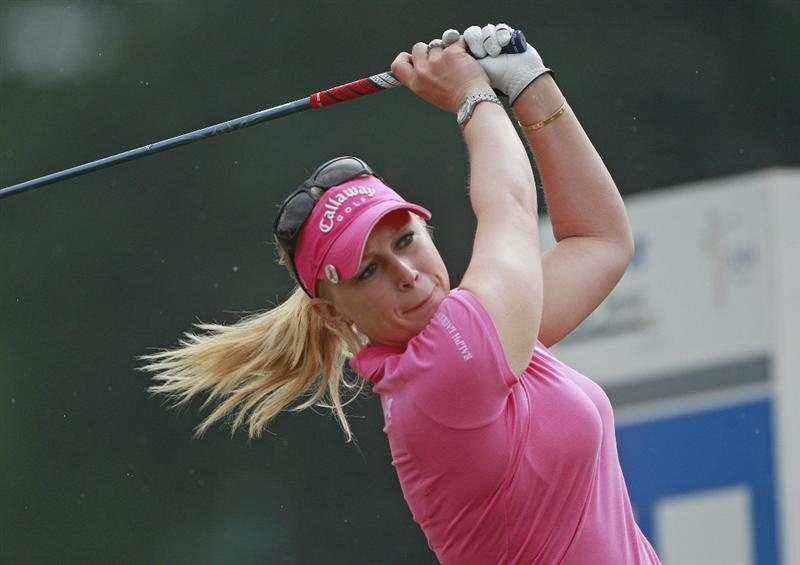 PRATTVILLE, AL - OCTOBER 2:  Morgan Pressel watches her tee shot on the 17th hole during second round play in the Navistar LPGA Classic at the Robert Trent Jones Golf Trail at Capitol Hill on October 2, 2009 in  Prattville, Alabama.  (Photo by Dave Martin/Getty Images)