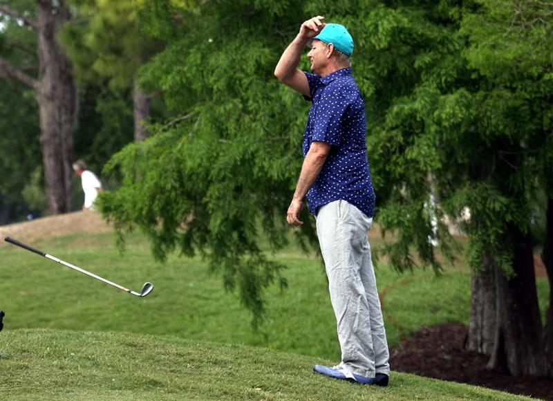LUTZ, FL - APRIL 19: Actor Bill Murray throws his club on the ninth hole during the final round of the Outback Steakhouse Pro-Am at TPC Tampa Bay on April 19, 2009  in Lutz, Florida.  (Photo by Marc Serota/Getty Images)