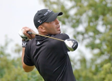 Long-hitter Hank Kuehne drives from the 17th tee during the second round of the 2005 Cialis Western Open at Cog Hill Golf and Country Club in Lemont, Illinois on Friday, July 1, 2005.Photo by Al Messerschmidt/WireImage.com