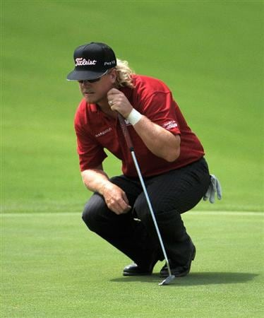 SAN ANTONIO, TX - MAY 15: Charley Hoffman lines up a putt for birdie on the 15th hole during the second round of the Valero Texas Open at the TPC San Antonio on May 15, 2010 in San Antonio, Texas. (Photo by Marc Feldman/Getty Images)