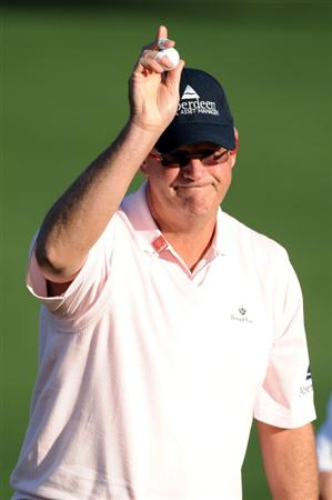 AUGUSTA, GA - APRIL 07:  Sandy Lyle of Scotland reacts on the second hole during the first round of the 2011 Masters Tournament at Augusta National Golf Club on April 7, 2011 in Augusta, Georgia.  (Photo by Harry How/Getty Images)