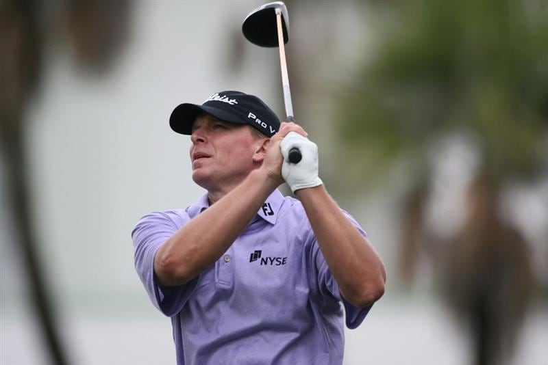 DORAL, FL - MARCH 12:  Steve Stricker tees off on the seventh tee box during round two of the 2010 WGC-CA Championship at the TPC Blue Monster at Doral on March 12, 2010 in Doral, Florida.  (Photo by Marc Serota/Getty Images)