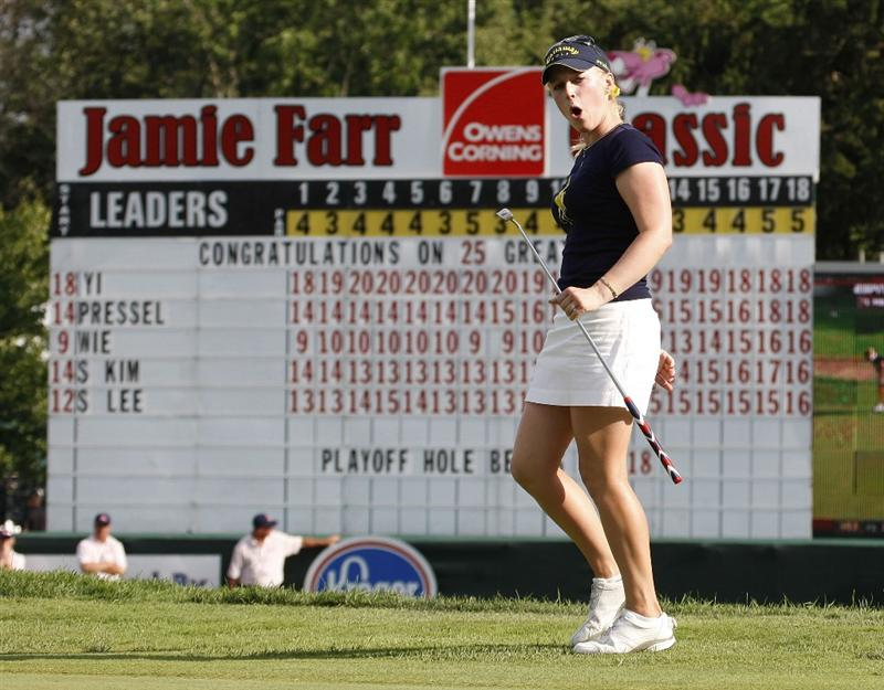 SYLVANIA, OH - JULY 05:  Morgan Pressel reacts to missing a birdie putt on the first playoff hole during the final round of the Jamie Farr Owens Corning Classic at Highland Meadows Golf Club on July 5, 2009 in Sylvania, Ohio.  (Photo by Gregory Shamus/Getty Images)