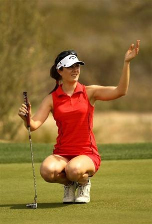 PHOENIX, AZ - MARCH 18:  Sandra Gal of Germany waves as she waits to putt on the 16th hole during the first round of the RR Donnelley LPGA Founders Cup at Wildfire Golf Club on March 18, 2011 in Phoenix, Arizona.  (Photo by Stephen Dunn/Getty Images)