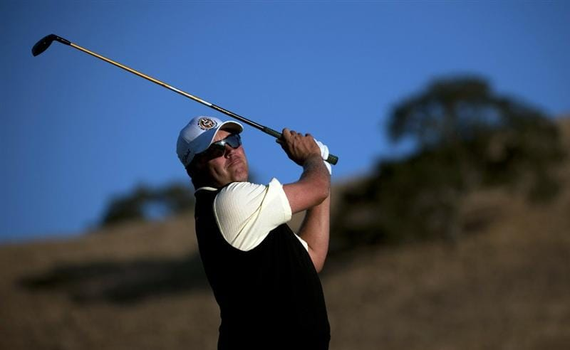SAN MARTIN, CA - OCTOBER 14:  Bo Van Pelt makes a tee shot on the 11th hole during the first round of the Frys.com Open at the CordeValle Golf Club on October 14, 2010 in San Martin, California.  (Photo by Robert Laberge/Getty Images)