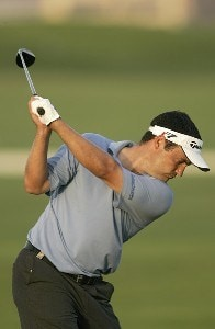 Simon Khan during the first round of the Dubai Desert Classic at the Emirates Golf Club in Dubai, United Arab Emirates on February 2, 2006.Photo by Pete Fontaine/WireImage.com