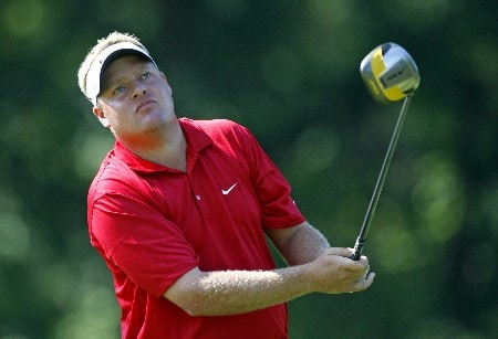 PARAMUS, NJ - AUGUST 22: Carl Pettersson of Sweden plays a shot during the second round of The Barclays at Ridgewood Country Club on August 22, 2008 in Paramus, New Jersey. (Photo by Hunter Martin/Getty Images)