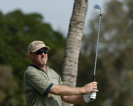 Frank Lickliter tees off on the ninth hole during  final-round competition March 6, 2005  at the Ford Championship at Doral in Miami.