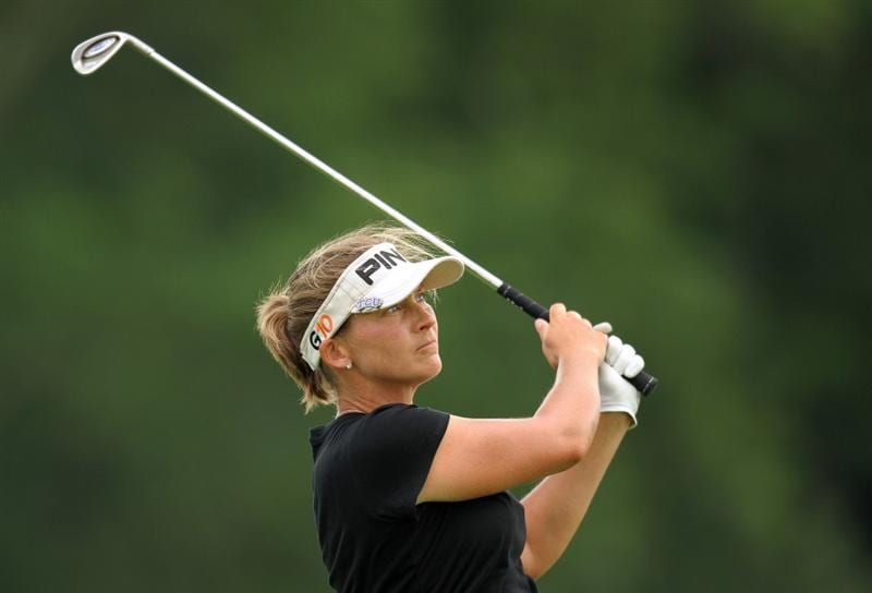 HAVRE DE GRACE, MD - JUNE 13: Angela Stanford hits her tee shot on the seventh hole during the third round of the McDonald's LPGA Championship at Bulle Rock Golf Course on June 12, 2009 in Havre de Grace, Maryland. (Photo by Drew Hallowell/Getty Images)