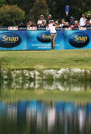 MELBOURNE, AUSTRALIA - NOVEMBER 28:  Robert Allenby of Australia  tees off on the fourteeth hole during the second round of the 2008 Australian Masters at Huntingdale Golf Club on November 28, 2008 in Melbourne, Australia  (Photo by Quinn Rooney/Getty Images)