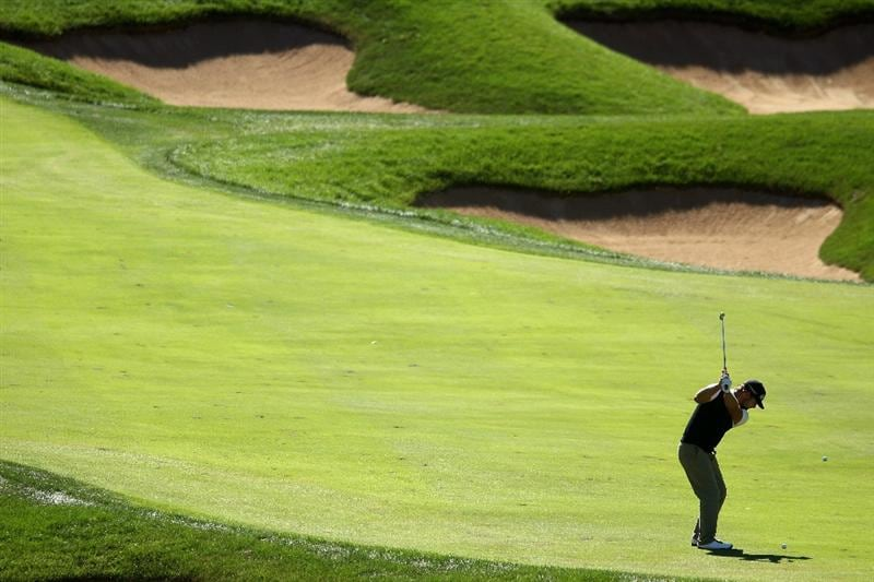 LEMONT, IL - SEPTEMBER 12:  Ryan Moore hits his second shot on the eighth hole during the final round of the BMW Championship at Cog Hill Golf & Country Club on September 12, 2010 in Lemont, Illinois.  (Photo by Scott Halleran/Getty Images)