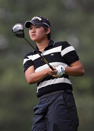 WILLIAMSBURG, VA - MAY 07:  Yani Tseng hits her tee shot on the 8th hole during the first round of the Michelob Ultra Open at Kingsmill Resort on May 7, 2009 in Williamsburg, Virginia.  (Photo by Hunter Martin/Getty Images)