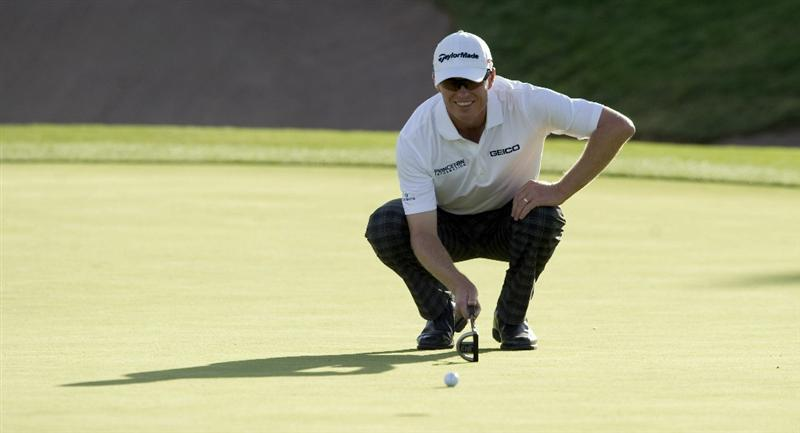 LAS VEGAS, NV - OCTOBER 23: John Senden of Australia lines up his putt on the 16th hole during the third round of the Justin Timberlake Shriners Hospitals for Children Open on October 23, 2010 in Las Vegas, Nevada. (Photo by Steve Dykes/Getty Images)