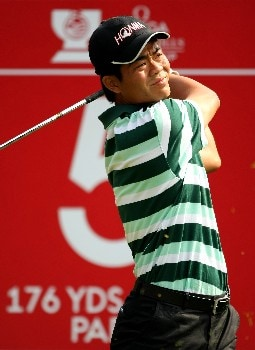 SHENZHEN, CHINA - NOVEMBER 23:  Liang Wen-Chong of China tee's off at the 5th during the second round of the Omega Mission Hills World Cup at the Mission Hills Resort on 23 November 2007 in Shenzhen, China.  (Photo by Richard Heathcote/Getty Images)