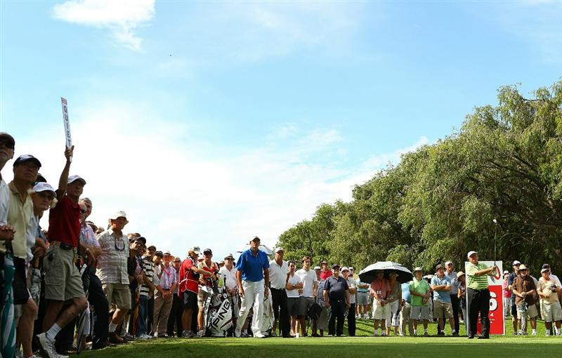 PERTH, AUSTRALIA - NOVEMBER 21:  Peter Senior of Australia tees off on the 16th hole during day three of the 2010 Australian Senior Open at Royal Perth Golf Club on November 21, 2010 in Perth, Australia.  (Photo by Paul Kane/Getty Images)