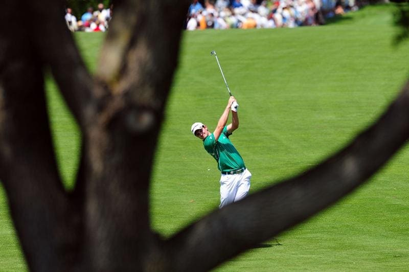 CHASKA, MN - AUGUST 14:  Justin Rose of England hits a shot on the third hole during the second round of the 91st PGA Championship at Hazeltine National Golf Club on August 14, 2009 in Chaska, Minnesota.  (Photo by Stuart Franklin/Getty Images)