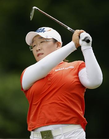 SYLVANIA, OH - JULY 03: Jiyai Shin of South Korea watches her tee shot on the eighth hole during the second round of the Jamie Farr Owens Corning Classic at Highland Hills Golf Club on July 3, 2009 in Sylvania, Ohio. (Photo by Gregory Shamus/Getty Images)