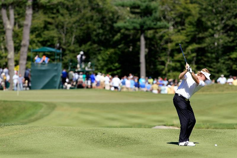 NORTON, MA - SEPTEMBER 06:  Brandt Snedeker hits the ball on the fifth hole during the final round of the Deutsche Bank Championship at TPC Boston on September 6, 2010 in Norton, Massachusetts.  (Photo by Michael Cohen/Getty Images)