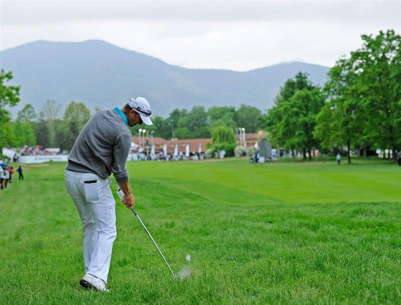 TURIN, ITALY - MAY 09:  Fredrik Andersson Hed of Sweden plays his approach shot on the 18th hole during the final round of the BMW Italian Open at Royal Park I Roveri on May 9, 2010 in Turin, Italy.  (Photo by Stuart Franklin/Getty Images)