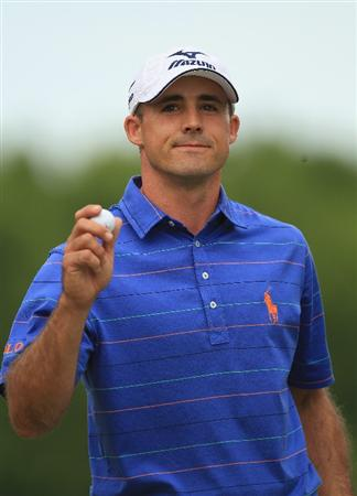 CHARLOTTE, NC - MAY 07:  Jonathan Byrd waves to the gallery during the third round of the Wells Fargo Championship at Quail Hollow Club on May 7, 2011 in Charlotte, North Carolina.  (Photo by Streeter Lecka/Getty Images)