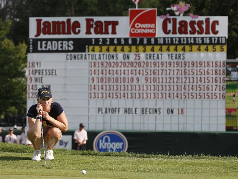 SYLVANIA, OH - JULY 05:  Morgan Pressel lines up a birdie putt on the first playoff hole during the final round of the Jamie Farr Owens Corning Classic at Highland Meadows Golf Club on July 5, 2009 in Sylvania, Ohio.  (Photo by Gregory Shamus/Getty Images)