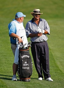 Jim Thorpe talks to his caddie Tony Shepherd during the fourth round of the Charles Schwab Cup Championship at Sonoma Golf Club on October 28, 2007, in Sonoma, California. Champions Tour - 2007 Charles Schwab Cup Championship - Final RoundPhoto by Chris Condon/PGA TOUR/WireImage.com