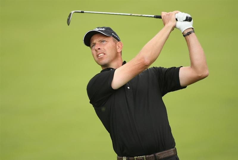 LUSS, SCOTLAND - JULY 08:  Soren Hansen of Denmark hits an iron shot during the Pro Am prior to The Barclays Scottish Open at Loch Lomond Golf Club on July 08, 2009 in Luss, Scotland.  (Photo by Andrew Redington/Getty Images)
