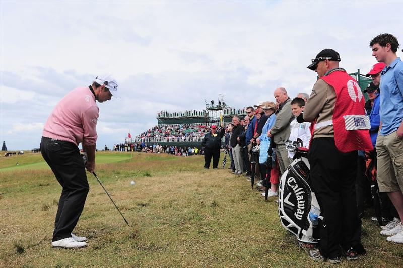 TURNBERRY, SCOTLAND - JULY 18:  Oliver Wilson of England hots his approach to the 7th green during round three of the 138th Open Championship on the Ailsa Course, Turnberry Golf Club on July 18, 2009 in Turnberry, Scotland.  (Photo by Stuart Franklin/Getty Images)