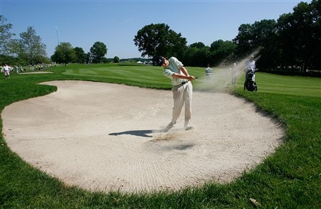CROMWELL, CT - JUNE 21:  J.J. Henry works out of a bunker during the third round of the Travelers Championship at TPC River Highlands held on June 21, 2008 in Cromwell, Connecticut. (Photo by Jim Rogash/Getty Images)