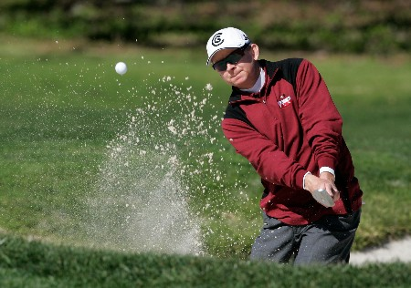 PEBBLE BEACH, CA - FEBRUARY 7:  Kent Jones hits a bunker shot to the second green during the first round of the AT&T Pebble Beach National Pro-Am at the Pebble Beach Golf Links February 7, 2008 in Pebble Beach, California.  (Photo by Jeff Gross/Getty Images)