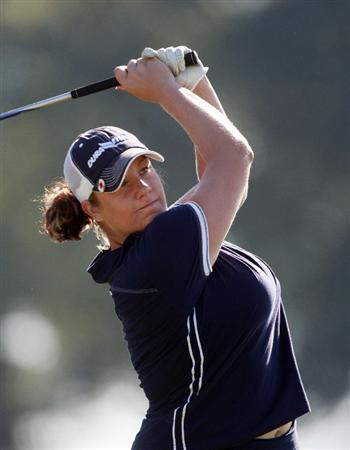 PRATTVILLE, AL - OCTOBER 1:  Jessica Shepley of Canada watches her drive from the 18th tee during first round play in the Navistar LPGA Classic at the Robert Trent Jones Golf Trail at Capitol Hill on October 1, 2009 in  Prattville, Alabama.  (Photo by Dave Martin/Getty Images)