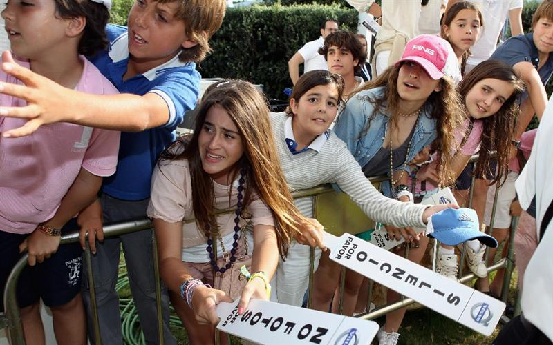 CASARES, SPAIN - MAY 22:  Young fans clamour for autographs on the final day of the Volvo World Match Play Championship at Finca Cortesin on May 22, 2011 in Casares, Spain.  (Photo by Andrew Redington/Getty Images)