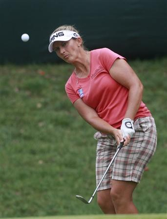 ROGERS, AR - SEPTEMBER 12:  Angela Stanford chips to the 18th green during second round play in the P&G Beauty NW Arkansas Championship at the Pinnacle Country Club on September 12, 2009 in Rogers, Arkansas.  (Photo by Dave Martin/Getty Images)