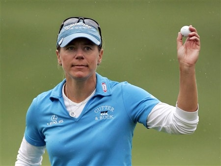 WILLIAMSBURG, VA - MAY 8: Annika Sorenstam of Sweden acknowledges the gallery on the 18th hole during the first round of the Michelob Ultra Open at Kingsmill Resort & Spa on May 8, 2008 in Williamsburg, Virginia. (Photo by Hunter Martin/Getty Images)