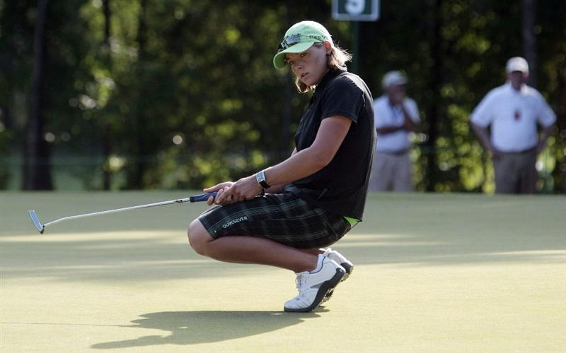 MOBILE, AL - MAY 13: Katherine Hull of Australia reacts as her birdie putt slides past the hole on the ninth green during first round play in Bell Micro LPGA Classic at the Magnolia Grove Golf Course on May 13, 2010 in Mobile, Alabama. (Photo by Dave Martin/Getty Images)
