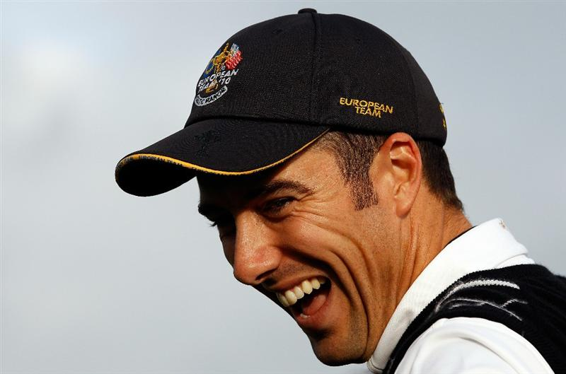 NEWPORT, WALES - OCTOBER 03:   Ross Fisher of Europe laughs during the  Fourball & Foursome Matches during the 2010 Ryder Cup at the Celtic Manor Resort on October 3, 2010 in Newport, Wales. (Photo by Sam Greenwood/Getty Images)