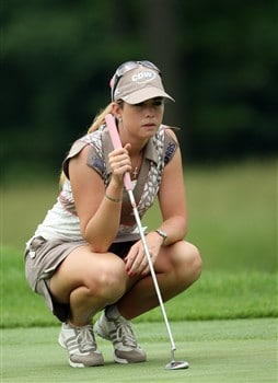 HAVRE DE GRACE, MD - JUNE 05:  Paula Creamer of the USA lines up a birdie putt at the eighth hole during the first round of the 2008 McDonald's LPGA Championship held at Bulle Rock Golf Course, on June 5, 2008 in Havre de Grace, Maryland.  (Photo by David Cannon/Getty Images)