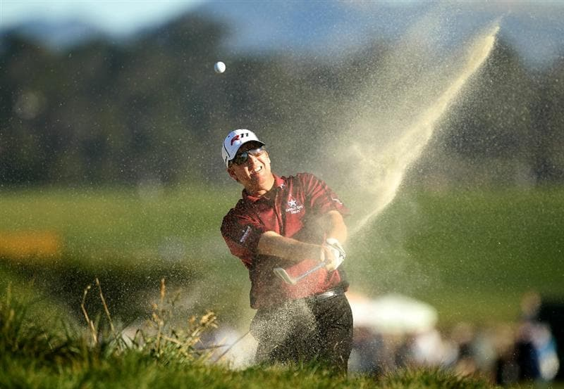 PEBBLE BEACH, CA - FEBRUARY 12:  D.A. Points hits out of the bunker on the 18th hole during the third round of the AT&T Pebble Beach National Pro-Am at the Pebble Beach Golf Links on February 12, 2011 in Pebble Beach, California.  (Photo by Ezra Shaw/Getty Images)