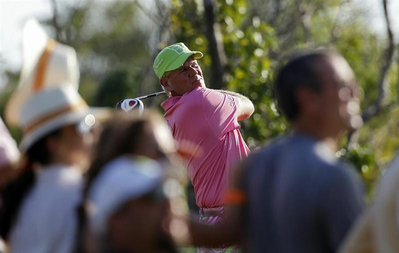 PLAYA DEL CARMEN, MEXICO - FEBRUARY 25:  John Daly hits a drive during the second round of the Mayakoba Golf Classic at Riviera Maya-Cancun held at El Camaleon Golf Club on February 25, 2011 in Playa del Carmen, Mexico.  (Photo by Michael Cohen/Getty Images)