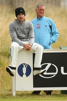 SOUTHPORT, UNITED KINGDOM - JULY 16:  Camilo Villegas of Colombia waits with Victor Garcia on the 6th tee during the third practice round of the 137th Open Championship on July 16, 2008 at Royal Birkdale Golf Club, Southport, England.  (Photo by Andrew Redington/Getty Images)